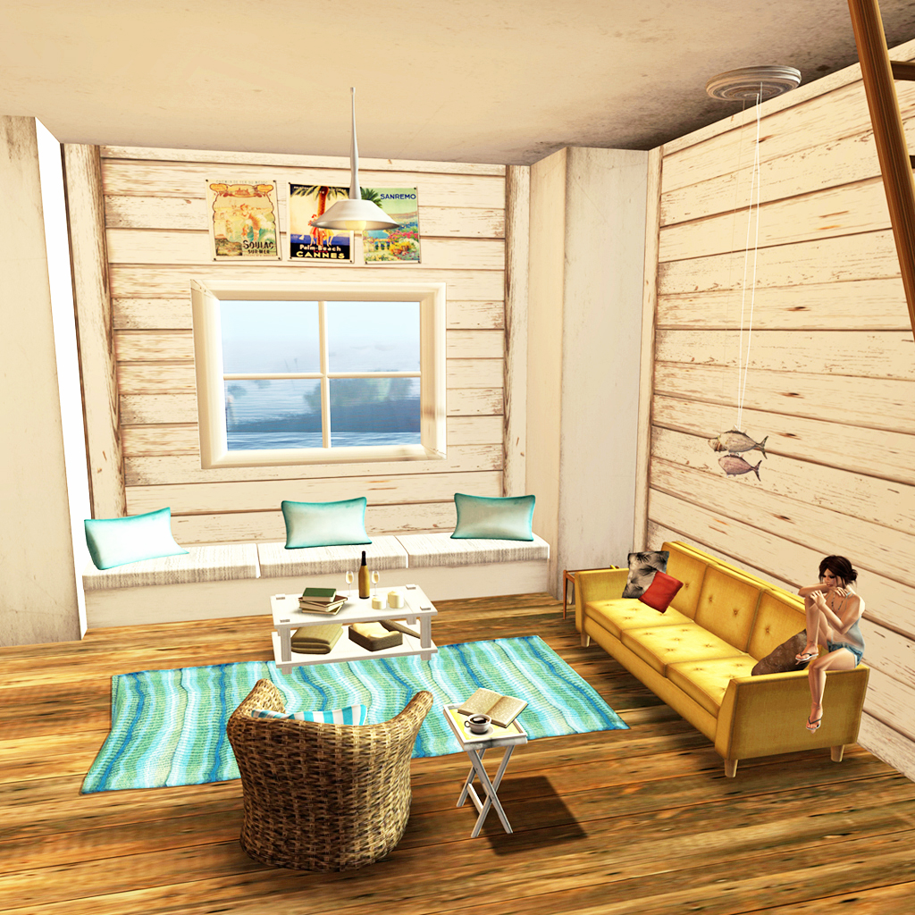 Gave Myself The Beach Bazar White Beach Cottage Living Room